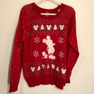 Disney red long sleeve sweater with Mickey Mouse